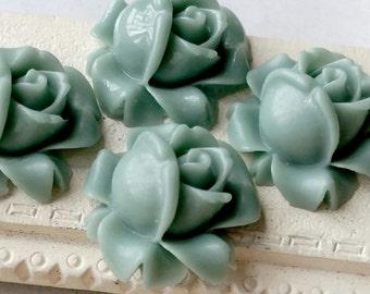 15 mm Baby-blue Colour Shrub Rose Resin Flower Cabochons (.sa)(ZZB)