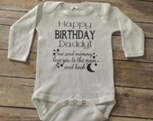 Moon Happy Birthday one piece or Shirt (Custom Text Colors/Wording)