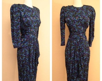 CLEARANCE Beautiful Floral 80s Does 40s Pinup Rockabilly Dress Long Sleeve and Knee Length in Dark Blue Indigo Rose Print Size 7 8