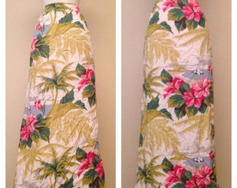 ON SALE Tiki Skirt Tropical Floral Print 80s Does 50s Skirt - Hawaiian Floral Hibiscus Flowers Rockabilly Pinup - Size Large
