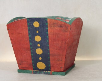 Vintage Handmade Red Folk Art Box Green Yellow Blue Planter Wooden Box Primitive Box