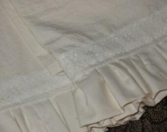 Muslin Lace Ruffled Tea Towels Set of Four