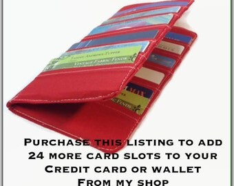 Add On - Add 24 more credit card slots to your card holder or wallet, increase your Credit Card Holder from 38 to 62 slots