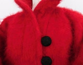 YVES SAINT LAURENT . Breath-Taking Mohair Oversized Fuzzy Fluffy Hairy Red Wool Coat Jacket 1970s Xl Xxl 1x 2x  ysl