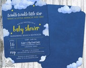 Twinkle Twinkle Little Star Baby Shower Invitation - Die Cut Baby Shower Invitation - Watercolor Stars - 5x7 - Set of 25 - Rounded Corners