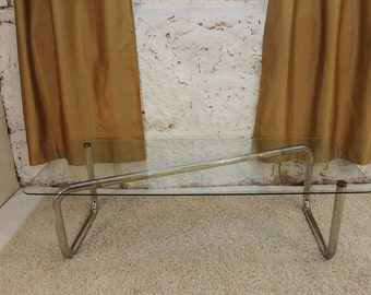 Mid Century Modern, danish, retro, vintage tubular chrome and glass coffee table