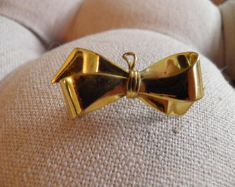 Vintage Ribbon, Bow Brooch, Pin, Pendant, Gold Filled