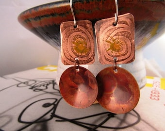 "Hand Etched Copper and Fire Painted Copper Earrings - 2"", 'At Your Primitive Best'"
