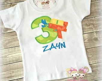 Squirt Gun Boys Birthday Shirt- Summer fun- Custom Birthday Shirt
