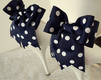 Polka Dot Bow Shoe Clips,Wedding Shoe Clips, Bridal Shoe Clips, Womens Shoe Clips, Shoe Clips for Shoes, MANY COLORS, Decorative Shoes