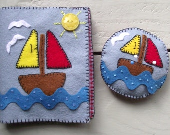 Needlecase and Pincushion Nautical , Sea Design Handmade with Felt ,Sewing, Pins