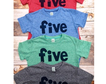 Boys 5th birthday shirt navy five on red, green, blue or grey birthday tshirt firetruck fire truck barn farm circus pirate sea 5 year old