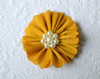 "Gold Fabric Flower, Pearl Center. 2.5"". 1 Flower ~Annalea Collection"