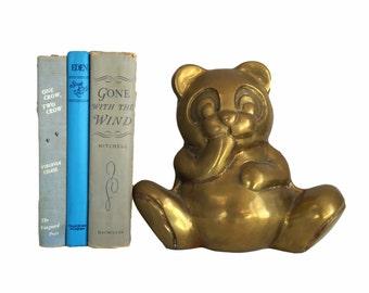 Mid Century Brass - Panda Bear - Home Decor - Vintage Brass -  Office Decor - Gift for Her