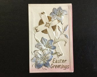 Vintage Embossed Easter Postcard with a Cross and Easter Lillies