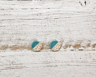 Ceramic Disc Earrings, Caribbean Blue, Silver, Modern, Unique Gift, Polka Dots, Minimal, Gift for Her, Ceramics, Ceramc Jewelry