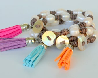 Leather, Pearl and Tassel Bracelet, Knotted Natural Grey Cord, Chunky Lined Freshwater Pearls, a Colorful Tassel and Mother of Pearl Buttton