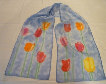 Touch of Tulips - Hand Painted Silk Scarf
