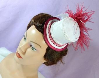 white red bride minihat Hat Wedding bridal Bridesmaid Fascinator Matrimonio mariage church hat formal hat cocktail hat Lolita Headpiece