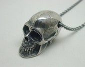 Human Skull Necklace, Sterling Silver