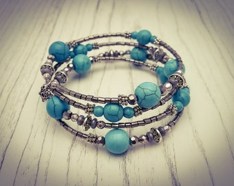 Turquoise and Silver Memory Wire Wrap Bohemian Gemstone Cuff Bracelet - [B3]