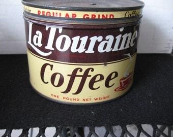 Vintage Collectible La Touraine Coffee Tin-keywind-original lid