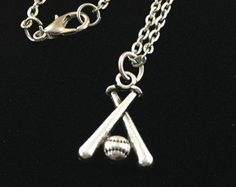 1pc Handmade Antique Silver Baseball Charm Pendant Necklace AC106-3