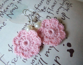 Pink Crochet Flower Earrings. Handmade Crochet Flower Earrings.