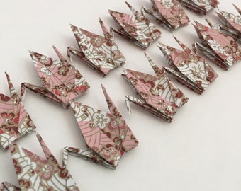 Origami Cranes-12 Small Japanese Chiyogami Paper Cranes with Cherry Blossoms