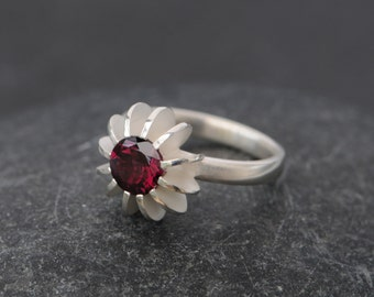 Rhodolite Garnet Ring - Deep Pink Garnet Ring - Sea Urchin Garnet Ring - Pink Gemstone Engagement Ring - Gift for Her - Made to Order