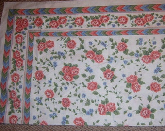 40% Off, Vintage , Table Cloth, Floral, roses, chevron Stripe, Table Linen, Shabby Chic