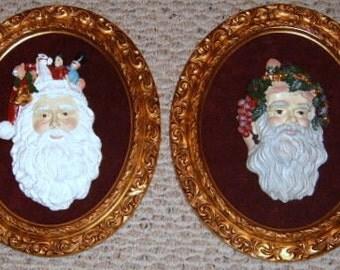 40% Off, Vintage, Santa, Gold Ornate Frames, Old World Santa, Holiday Decor, Oval Frame, Christmas Decor, Wall Decor