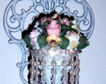 Vintage,Metal Sconce, Embellished Sconce, Altered Sconce, Procelain Flowers, Rhinestone, Acrylic Beads, Shabby Chic