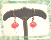 Glass Toadstool pierced Earrings Red and White Lampwork Beads
