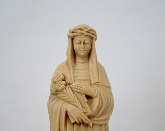Vintage Plastic Saint Catherine of Siena Statue - Patron Saint of Nurses - Mid Century Catholic Celluloid Figurine