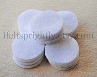 2 Inch Die Cut Felt Circles in White, Set of 50