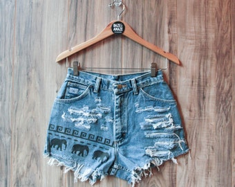 Elephant denim shorts | High waisted denim shorts | Painted denim | Aztec tribal denim | Festival shorts | Bohemian shorts | Hipster shorts