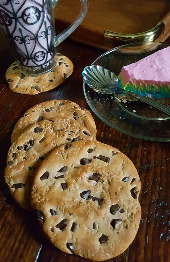 Hand sculpted Polymer Clay Chocolate Chip Coaster Set of 4 Realisticly fun