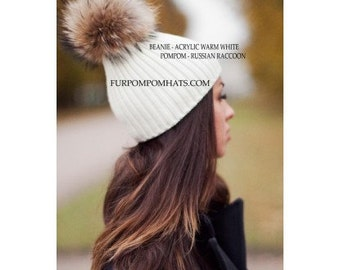 Handmade Fur Pompom Hat Raccoon WARM WHITE Knitted Base Beanie Women Arctic Store® Free Shipping