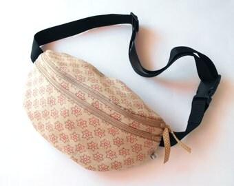 fanny pack/hip bag - patterned beige (large size)