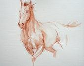 Original art horse art equine art energy and movement pastel wash horse sketch drawing mounted/matted ready to frame by H Irvine