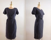 Vintage early 1960s Nightfall Ahead Dress / 50s 60s little black cotton applique dress lace / Medium M