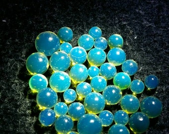 10 Blue Amber beads not drilled
