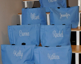 6 Bridesmaid Totes, Bridesmaid Gifts, Bridesmaid Tote Bag, Personalized Wedding Bag, Bridal Party Gift, Monogrammed Totes, Bridesmaids Gifts