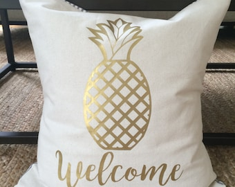 "Pineapple ""Welcome"" Pillow COVER"