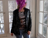 Vintage Black Sequin Blazer/Vintage 1980s/Size Medium