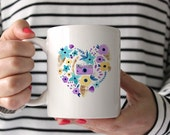 Camera Floral Heart, Ceramic Mug, Coffee Mug, Coffee Lover, Photographers Mug, Photography, Photographer Gift, Blue, Purple, Yellow Floral