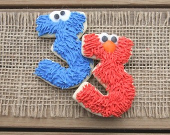 Elmo Party Favors / Cookie Monster Party Favors / Sesame Street Party Favors / Elmo and Cookie Monster Sugar Cookies - 12 cookies