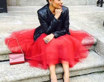 Red  tulle skirt, tutu skirt, red tut.