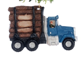 Blue Log Truck Christmas ornament - personalized logging truck ornament hand made in the USA  (101)